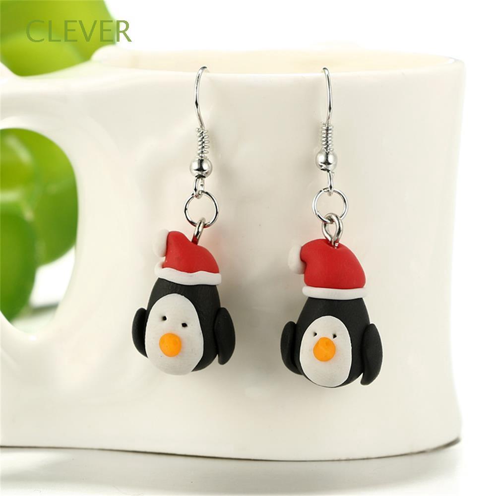 Polymer Clay Christmas Earrings.Jewellery Animal Dangle Hook Penguin Pattern Ear Stud