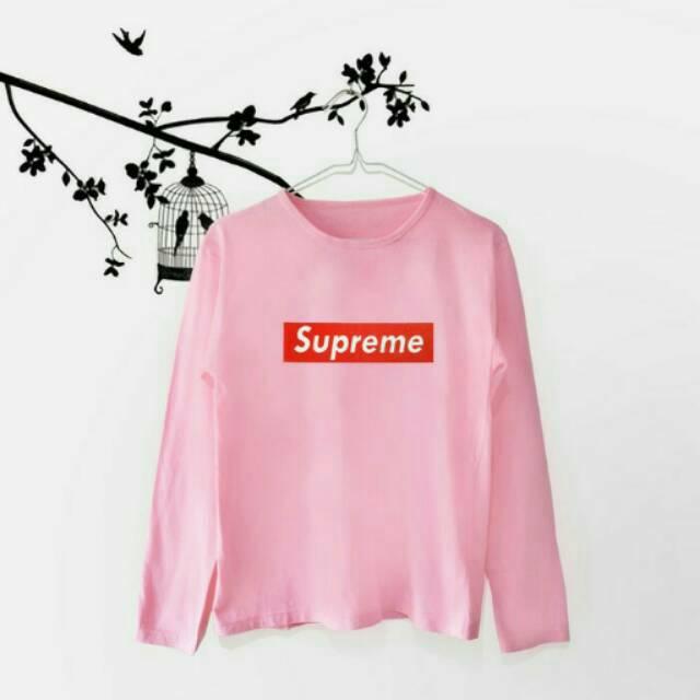Baju Kaos T-shirt Cewek Wanita Tumblr Tee Supreme Lengan panjang Pendek warna pink putih hitam murah | Shopee Indonesia