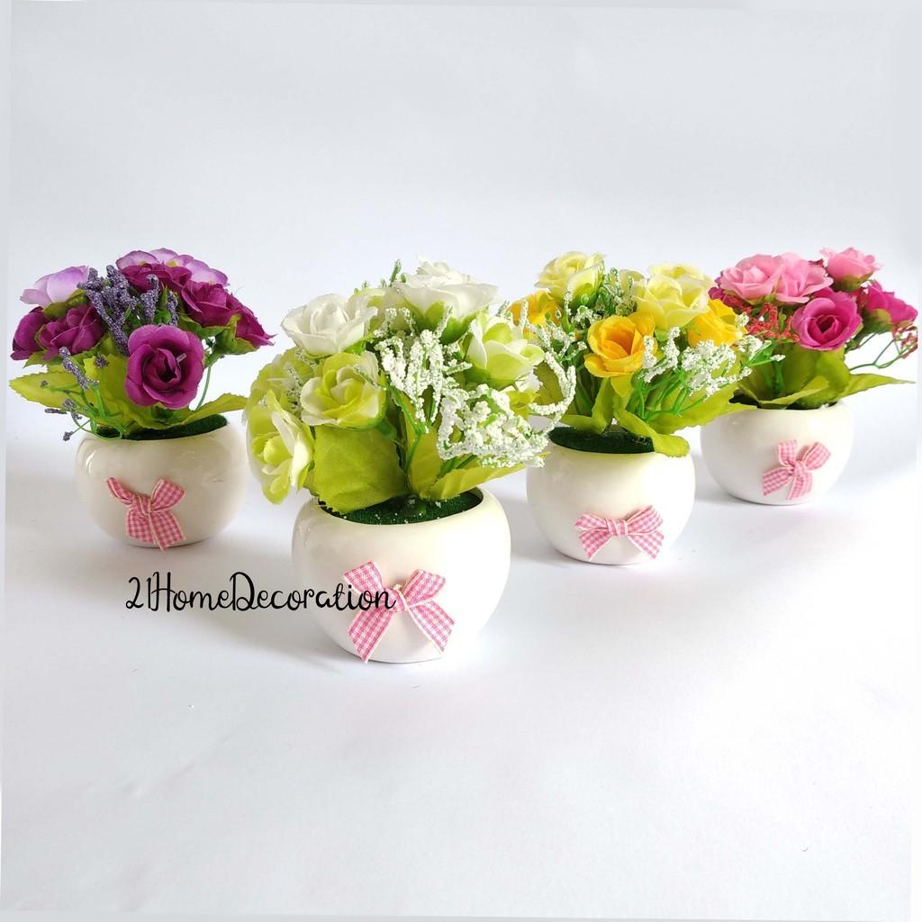 Vas Bunga Mini Rose Artificial Flower Pot Bulat Keramik Pita Vbk04 Shopee Indonesia
