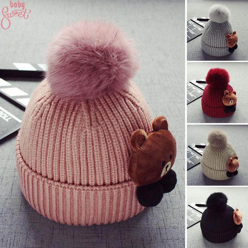 Cute Girl Boy Woolen Knit Baby Pompom Beanie Ski Hat Winter Head Keep Warmer Cap