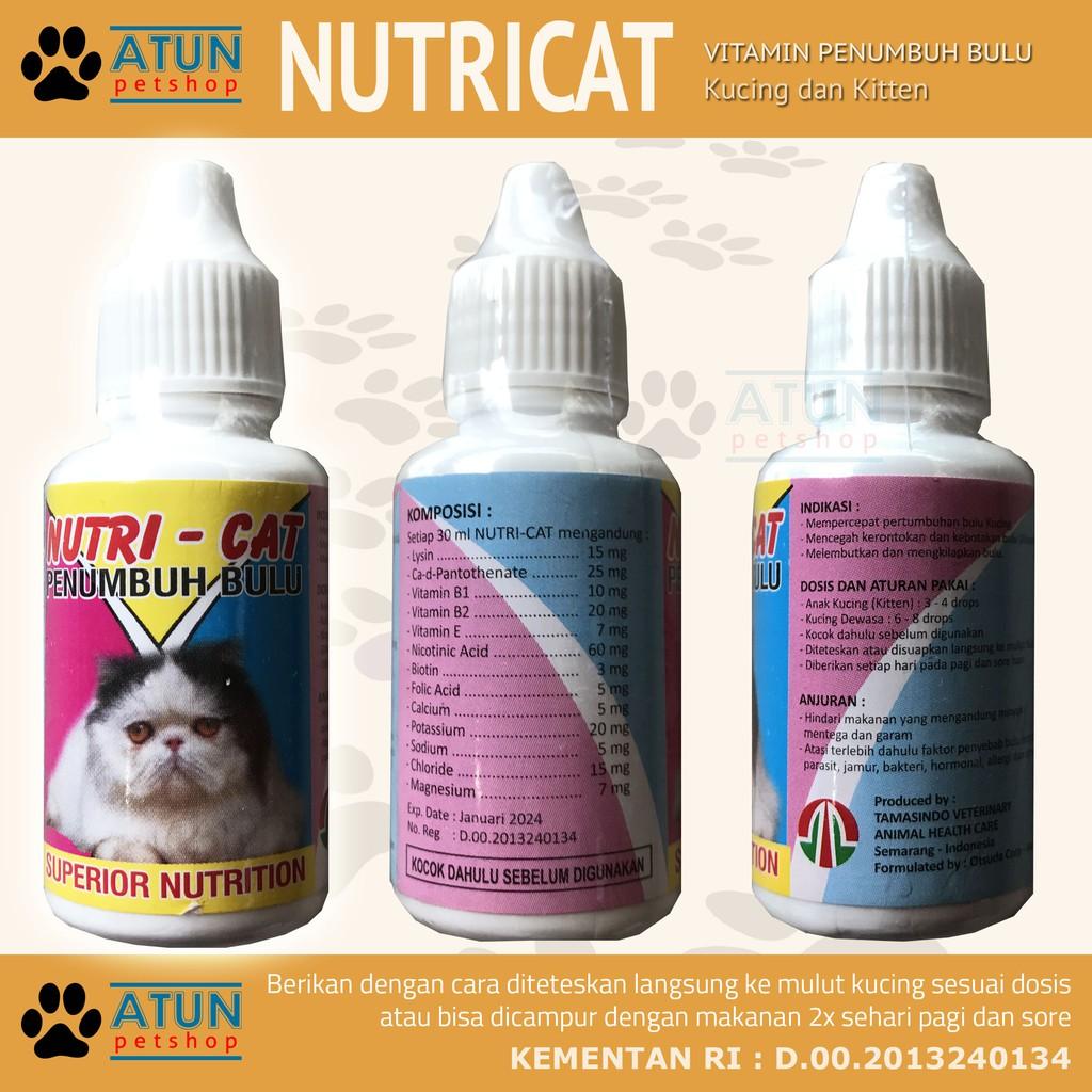 Vitamin Bulu Nutricat Penumbuh Bulu Kucing Nutri Cat Shopee Indonesia
