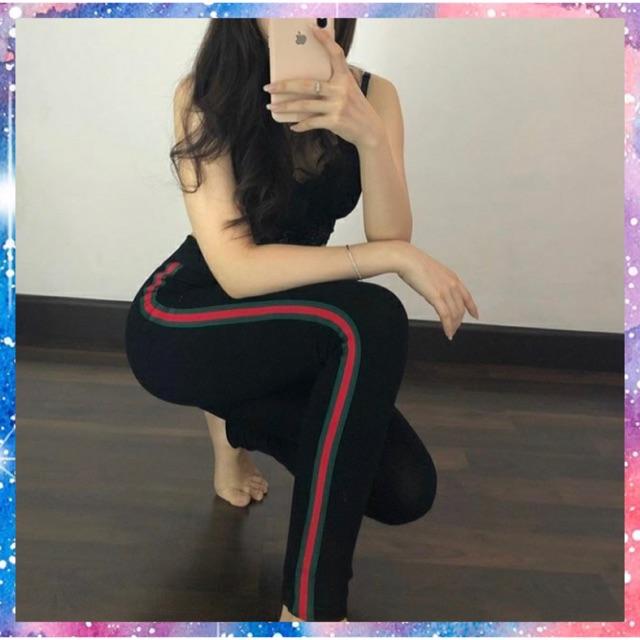 Celana Legging List Hijau Merah Hijau Leging Panjang Import Fashion Wanita Shopee Indonesia