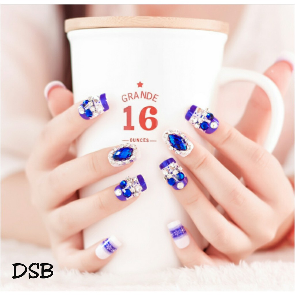 Wf1 Kuku Palsu Putih Bunga Shopee Indonesia Jbs Nails A61 3d Nikah Wedding False Fake Nailart