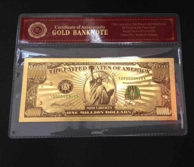 Uang Replika Lapis Emas 1 Juta Dollar Koleksi Souvenir Barang Unik Bergengsi Super Mewah Elegan Shopee Indonesia
