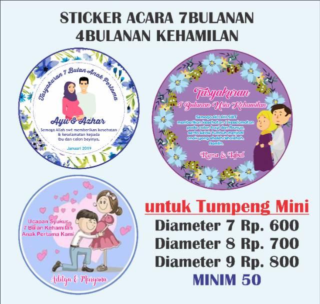 Sticker Acara 7 Bulanan Stiker 4bulanan Kehamilan Untuk Tumpeng Mini 10 15 20 25cm Shopee Indonesia