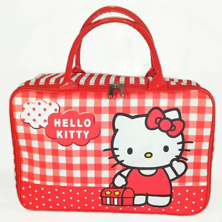 Travel Bag Kanvas Hello Kitty Pita Pink / tas koper piknik jinjing renang   Shopee Indonesia
