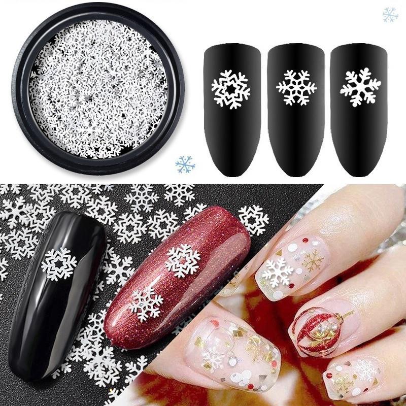Christmas Snowflake Nail Rhinestone Decoration Tips White Slice Diy Sequins