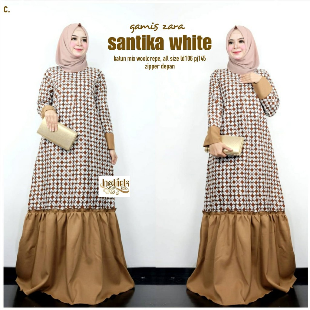 Gamis zara santika white I gamis motif batik bahan katun mix woolcrepe  cocok buat kondangan