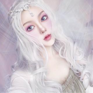 Wig Perempuan Bagian Tengah Putih Murni Rambut Keriting Panjang Cosplay Gelombang Besar Wig Serat Kimia thumbnail
