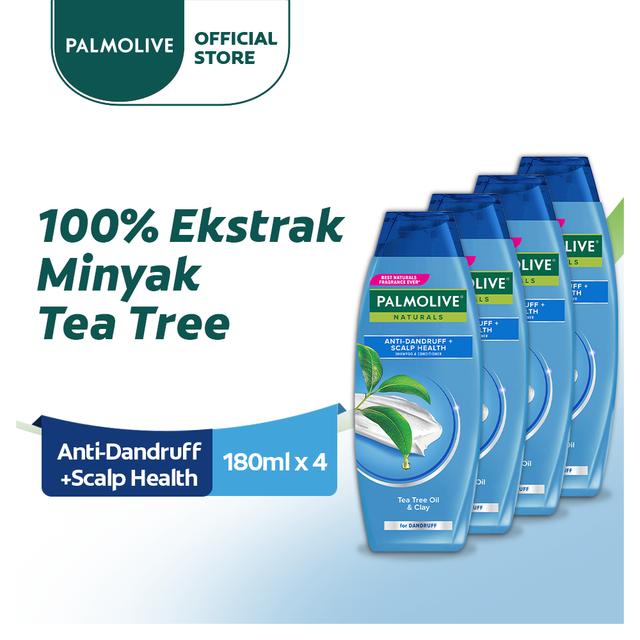 Palmolive Naturals Shampoo & Conditioner Anti Dandruff 180ml - Shampo Kondisioner (4pcs)