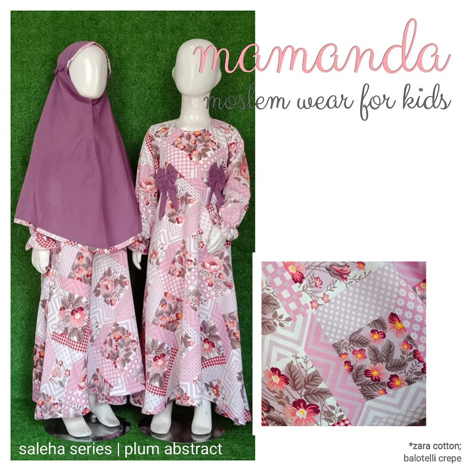 Gamis Anak Plum Abstract Saleha Series by Mamanda