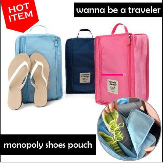 Monopoly Shoes Pouch Traveler / Tas Sepatu Olahraga Wisata Besar -GN61 | Shopee Indonesia