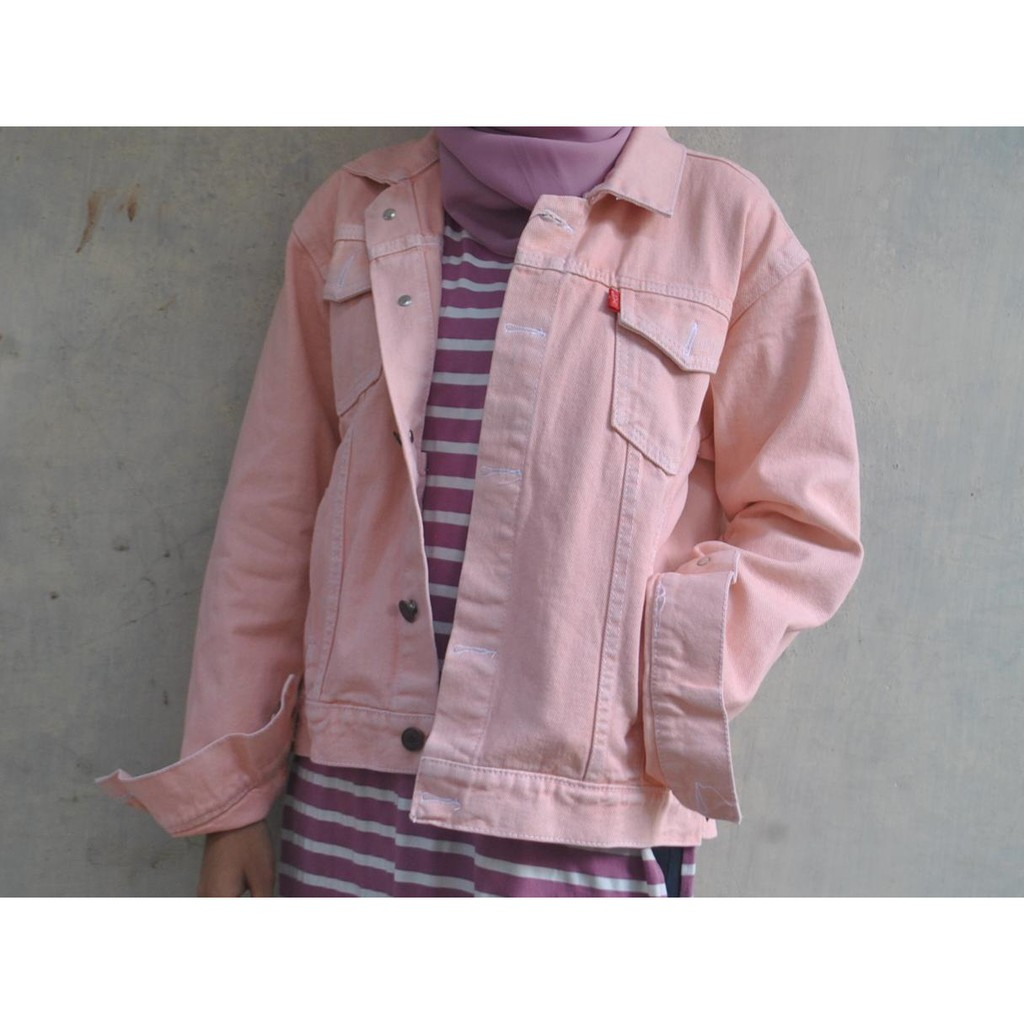 OVERSIZE DENIM PINK Jackets Pria Wanita Jeans Denim Tebal Jaket Baby Soft Pink