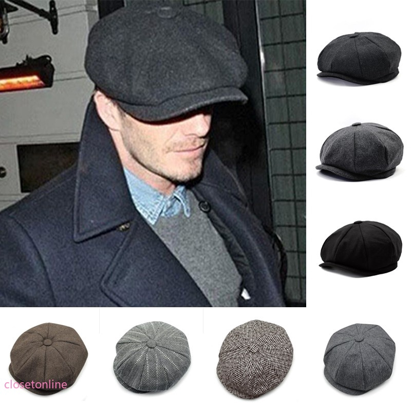65d04a053 CL✿✿ Men Tweed Newsboy Baker Boy Topi Datar Cabbie Baret Gatsby Herringbone  Kausal