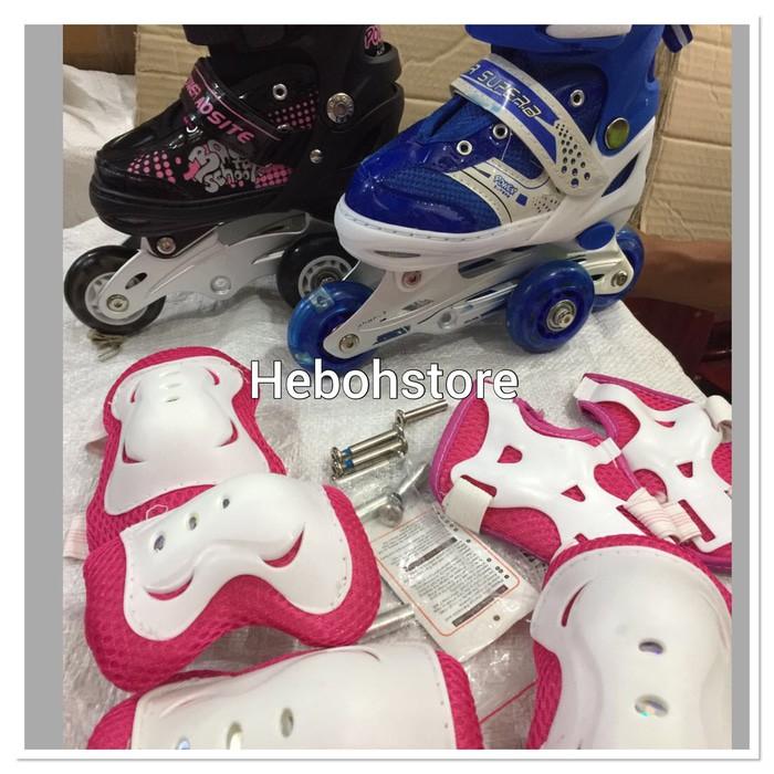 Termurah Sepatu Roda + Deker   Pelindung Inline Skate Satu Set Terlaris  580aaf92f1