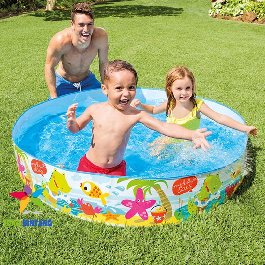 Intex Kolam Renang Snapset Pool 5 Ft Tanpa Pompa 152x25 Cm Swim Center See Through Round 57489 Blue