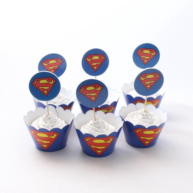 12 Set Cupcake Pesta Superman Topi Anak Laki Laki Dekorasi Kue Ulang Tahun