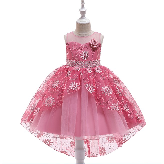 Good Quality Fashion Kids Girls Wedding Birthday Evening Night Party Flower Dress With Long Tail Shopee Indonesia
