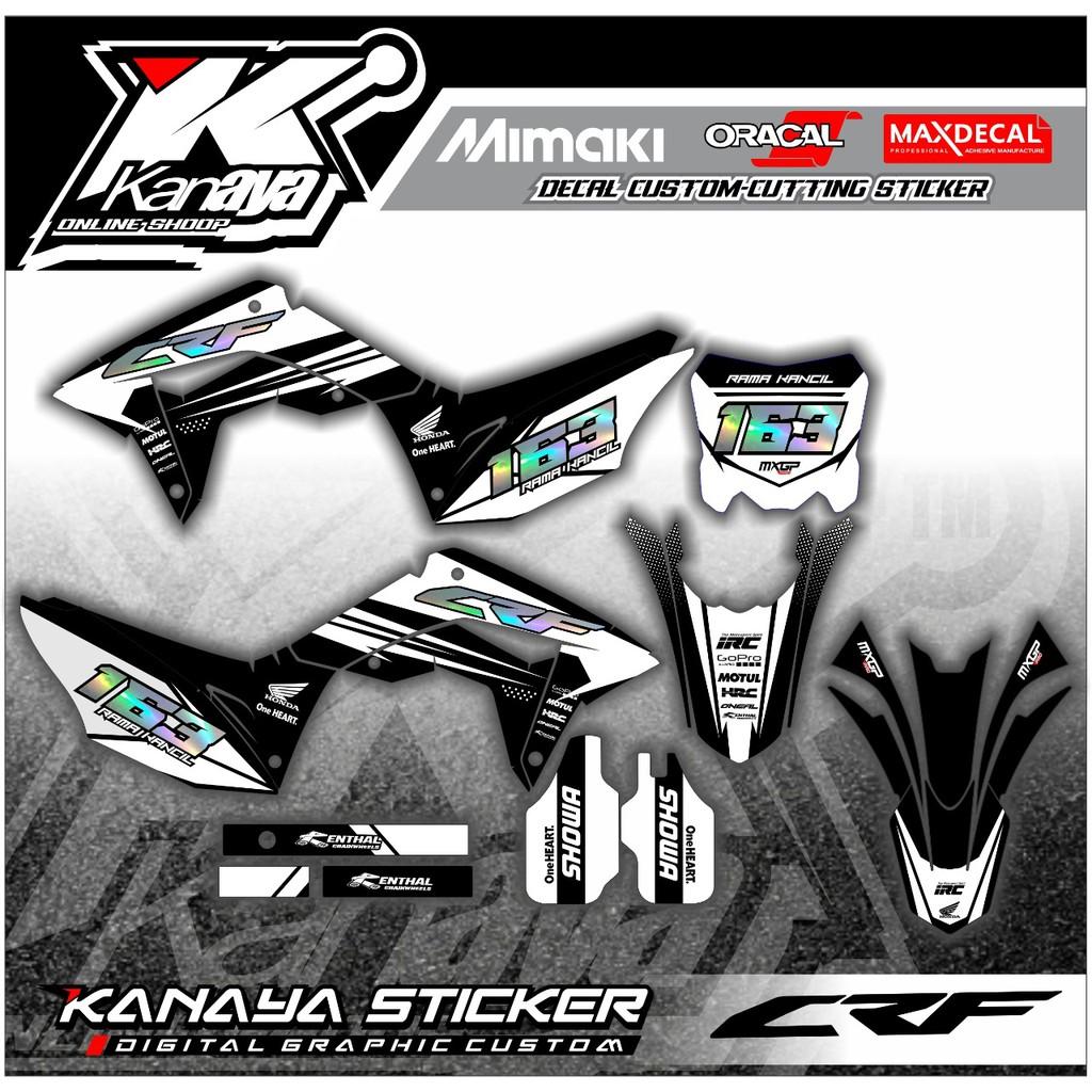 Decal Crf warna Putih hitam Sticker Supermoto Klx / Gordon / BF150 / Yz / Dtracker Bisa Custom