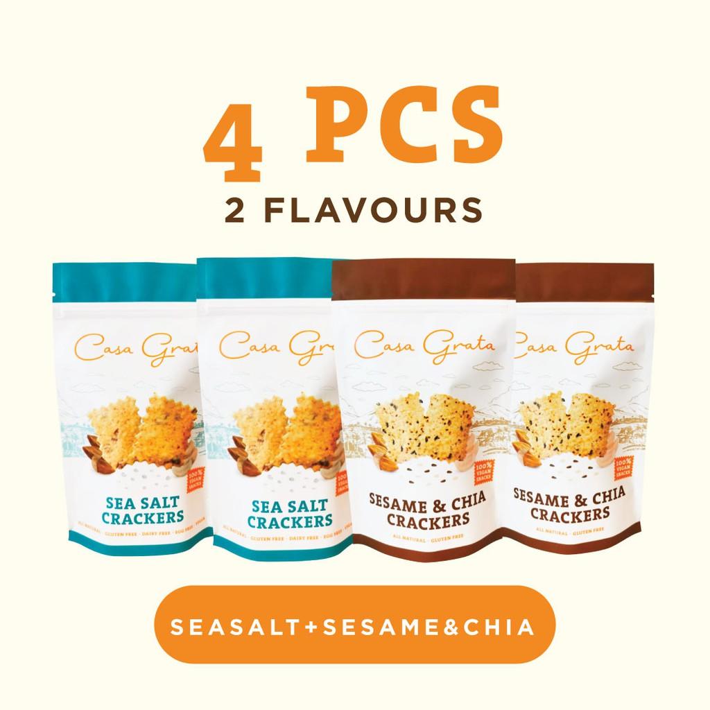 Casa Grata Funtasty 4 B ( Set of 4 Casa Grata Crackers with 2 different flavors)