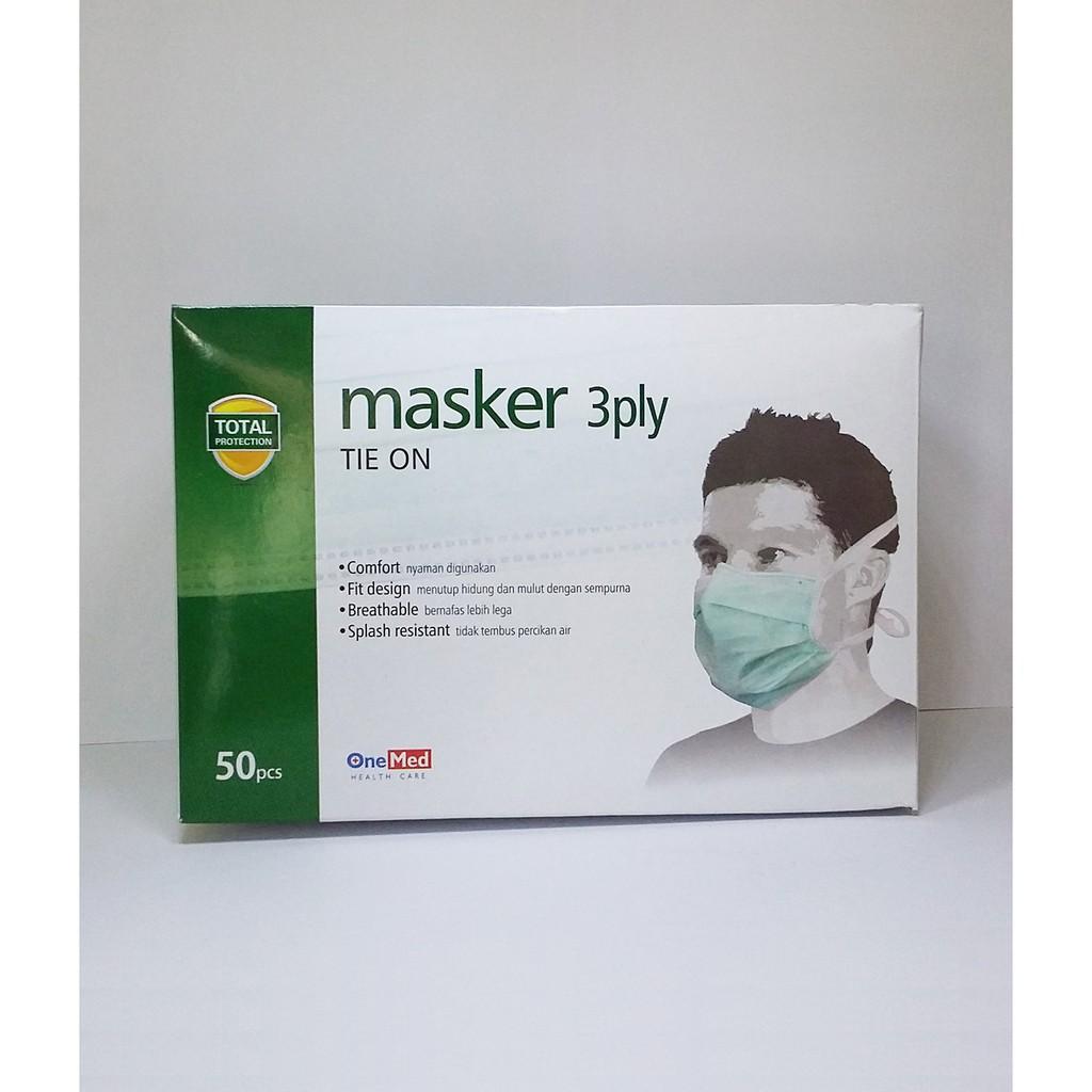 Masker 3ply 1 Box Hijab Shopee Indonesia Sensi Tie On Tali 3 Ply
