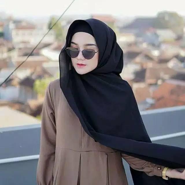 Pashmina Ceruti Babydoll Warna Hitam Shopee Indonesia