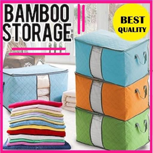 Bamboo Storage Box Bag Organizer Tempat Penyimpanan Baju