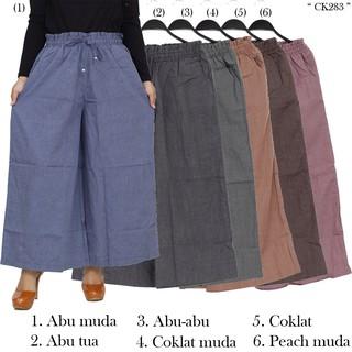 Celana Kulot Panjang / Celana Wanita Bahan Katun Polos
