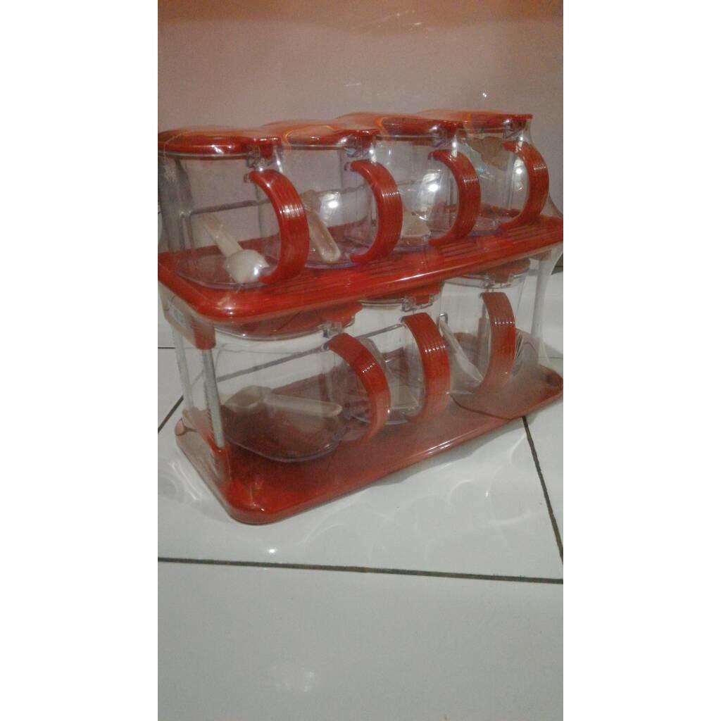 Tempat Bumbu Dapur 6 in 1 Modern Rak Box 6in1 Kotak 1 Set Plus Holder (