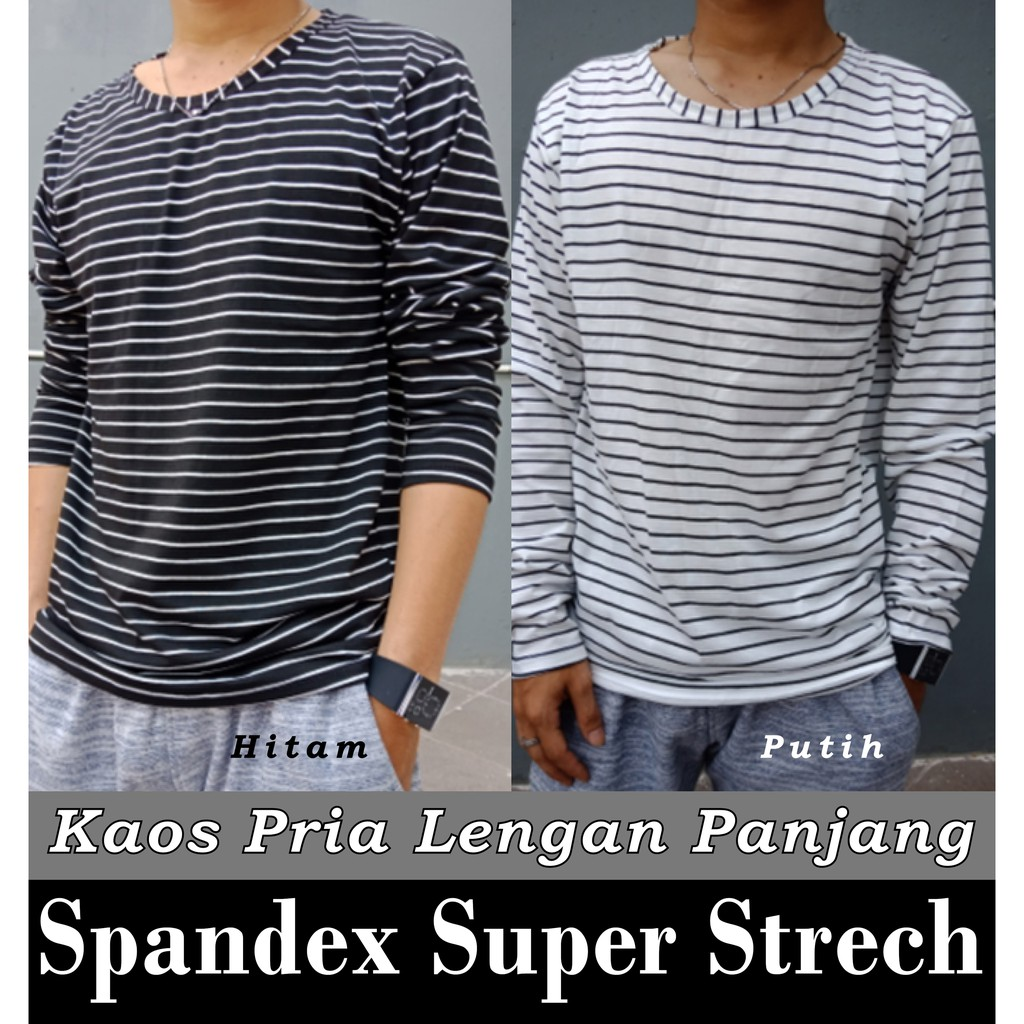 Kaos Salur Lengan Panjang / Baju Atasan - Kaos Murah Pria / Cowok Dewasa | Shopee Indonesia