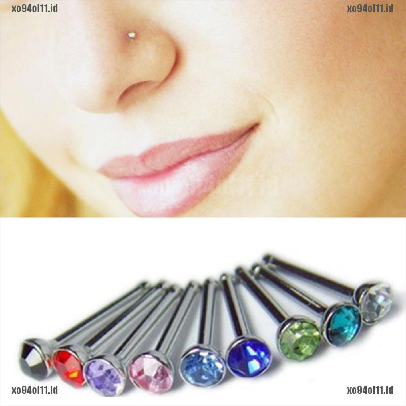 24pcs//Box  Rhinestone Flower Nose Ring Stud Body Piercing Jewelry