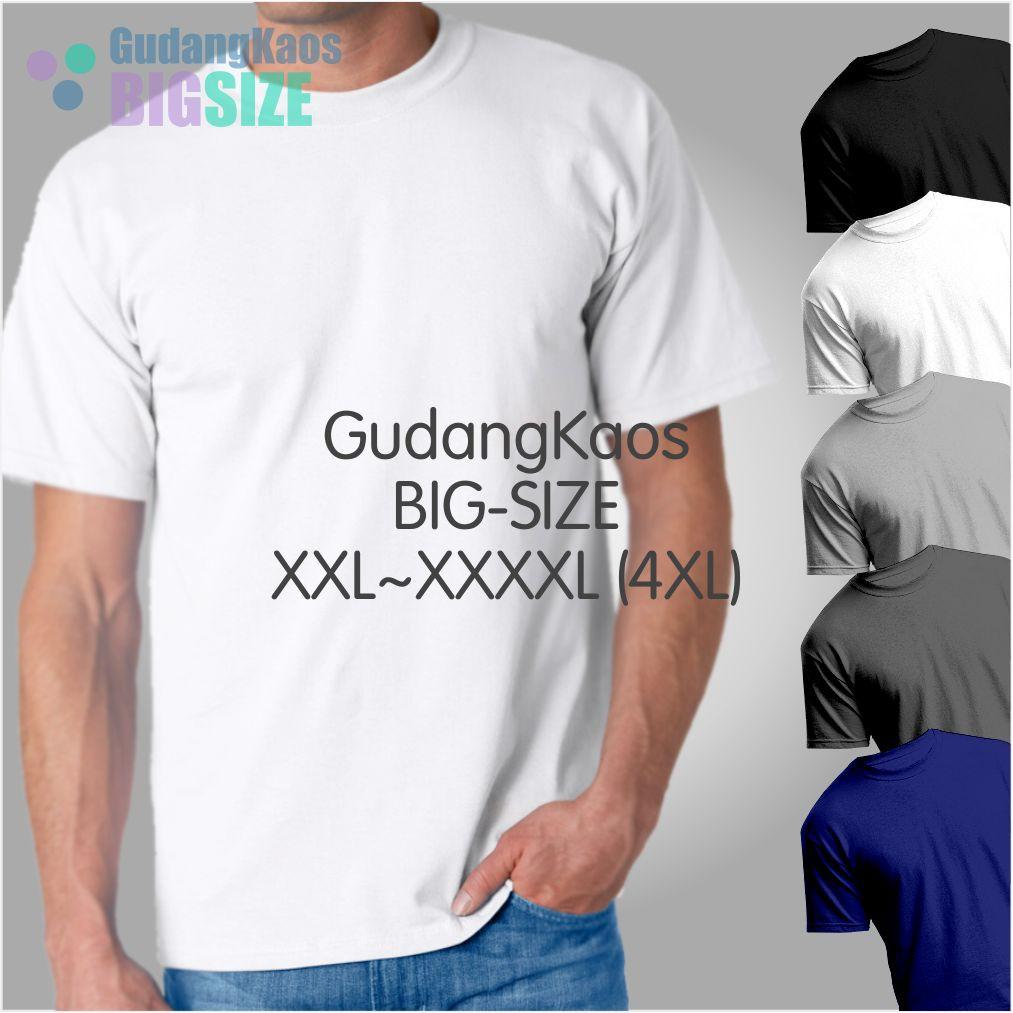 Kaos Polos Jumbo Size / Big Size Katun Combed 30s Size 4XL / XXXXL   Shopee Indonesia