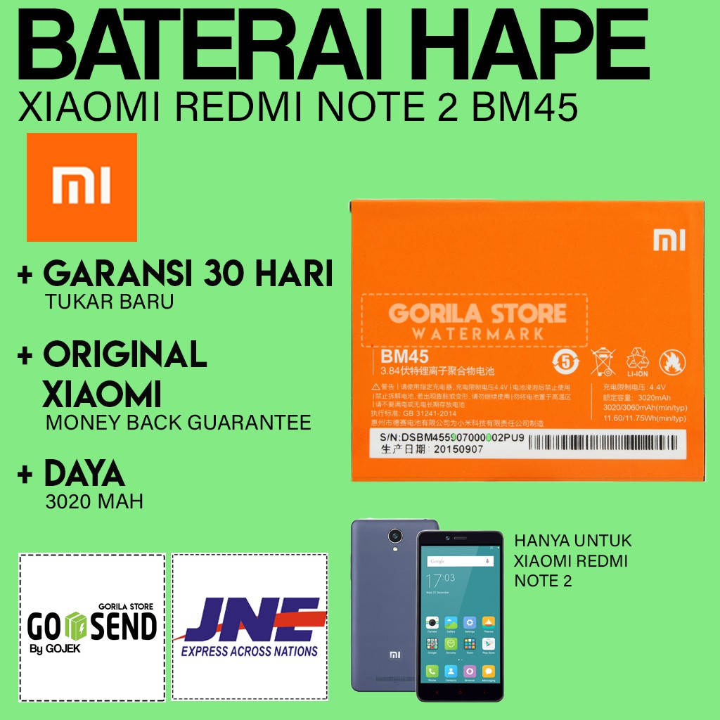 Ori Batre Xiaomi Redmi Note 2 Baterai 2s Bm44 Original Battery Batrai Shopee Indonesia