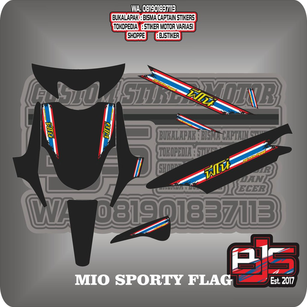 Sticker striping variasi thailand thailook mio sporty mio smile mio garnis mio amore e shopee indonesia