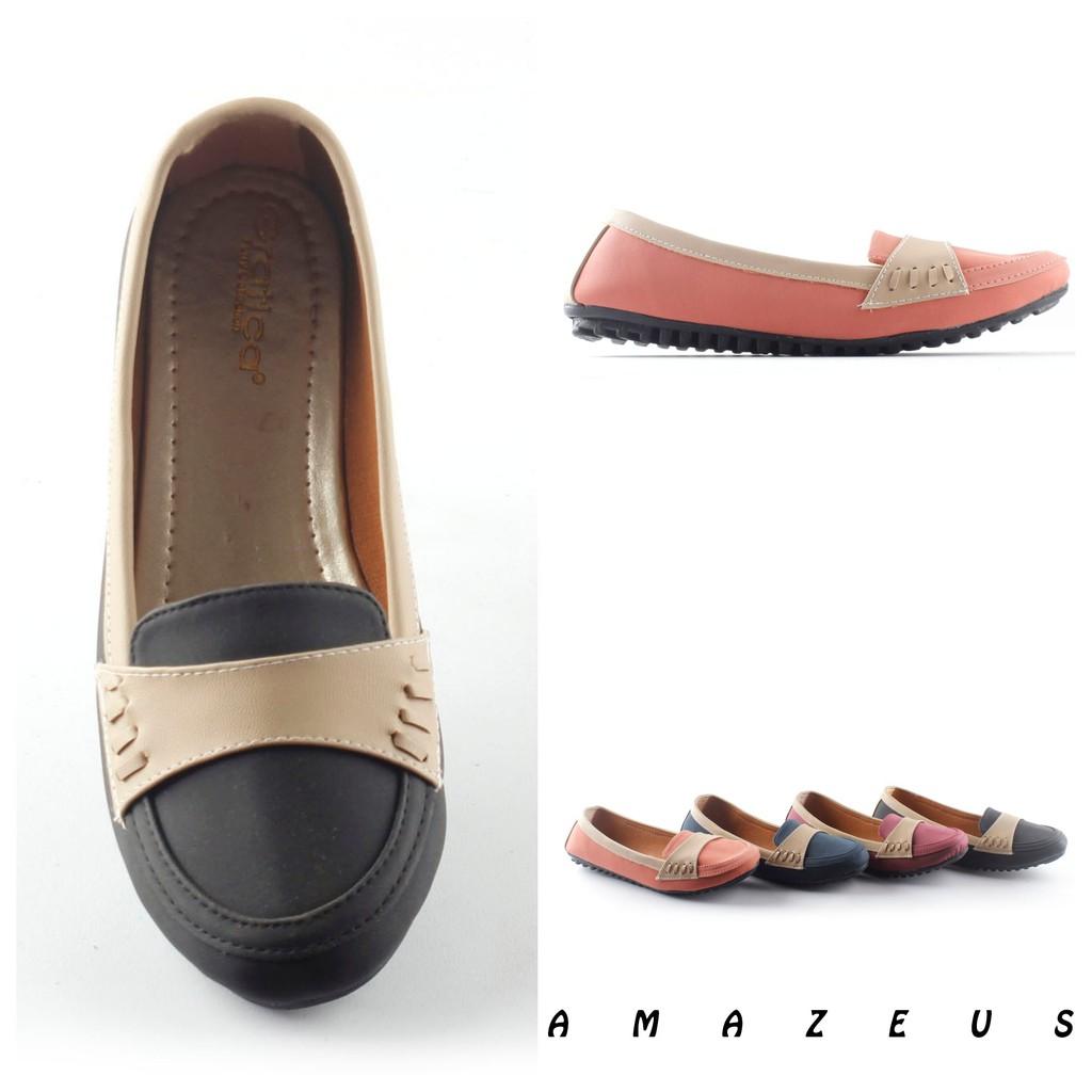 Bng Corner Sepatu Flat Shoes Casual Wanita Vk01 Kunyit Maroon Laser Belakang Cream Salem Hitam Shopee Indonesia
