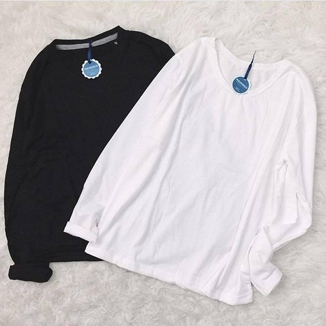 Plain Shirt Kaos Polos Hitam Putih Lengan Panjang Shopee Indonesia