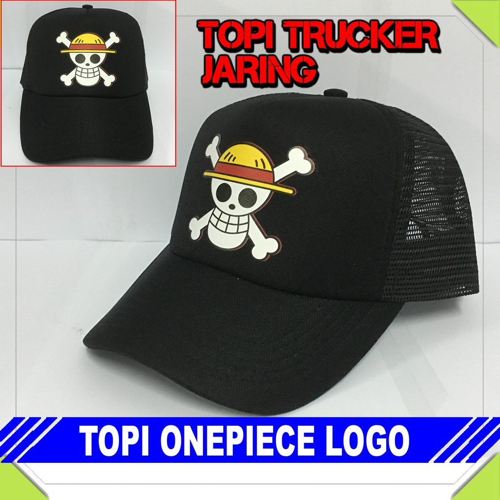 Jual Topi Onepiece Logo Murah Shopee Indonesia Jersiclothing Trucker Cold Play Merah Putih