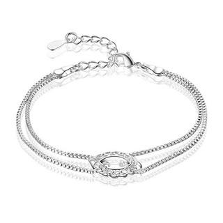 Shopee Aksesoris Fashion Gelang Bangle Perhiasan Hadiah Wanita: Gelang 925 Sterling Silver 2 Lapis Rantai