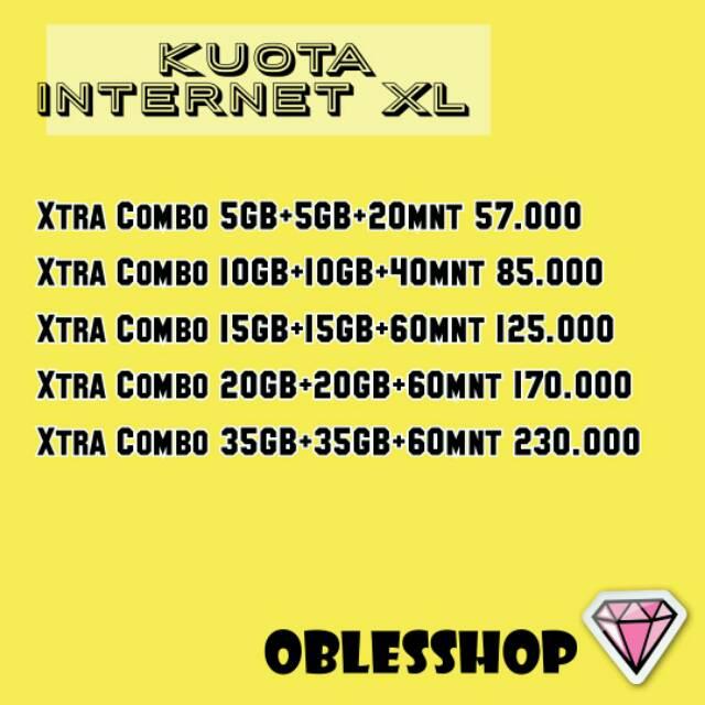KUOTA INTERNET XL COMBO XTRA 10GB/20GB/30GB/40GB/70GB