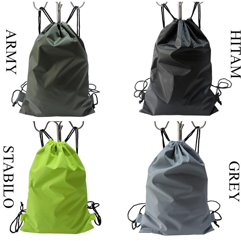 22fa3a9c4a tas serut ransel warna polos string bag drawstring