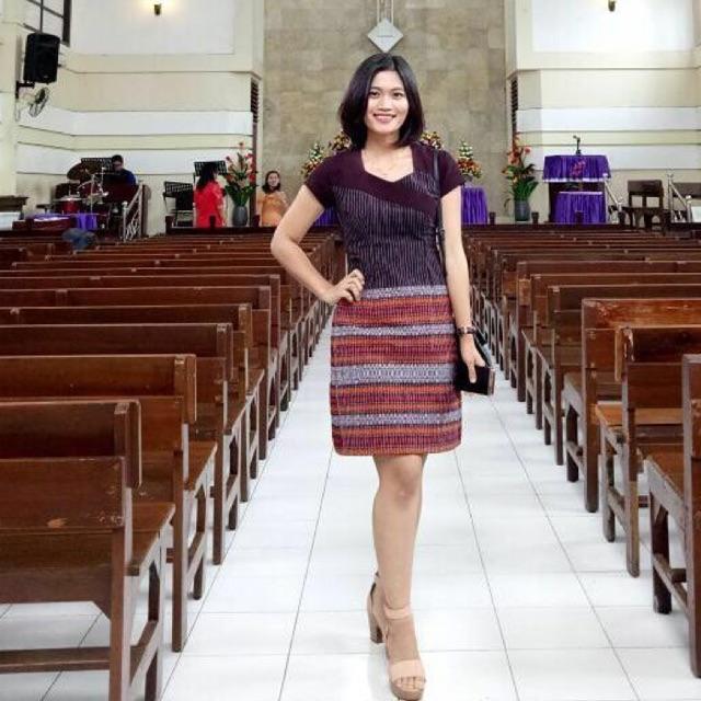 Dress Tenun Ulos Ragi Hotang Po Jait