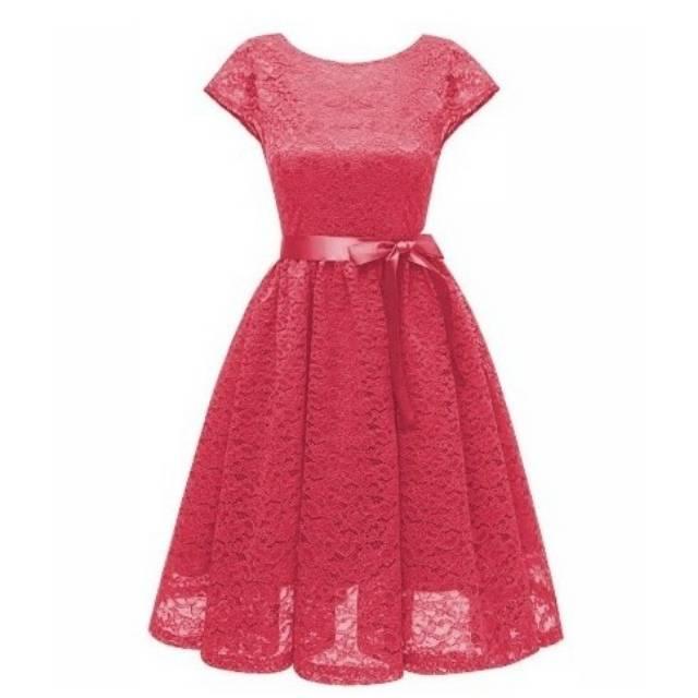 Dress Mikasa Lace 5warna Maroon Salem Merah Pinkfanta Navi Dress Brukat
