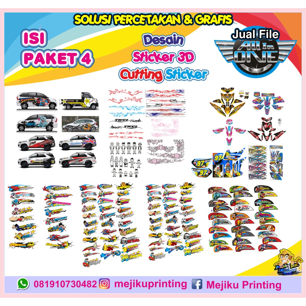 Paket pola motor striping sticker 3d list mobil cutting sticker dll shopee indonesia