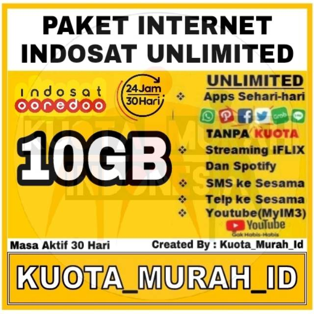 Promo Kuota Indosat Internet 10gb Bonus Unlimited App Sms Aktif