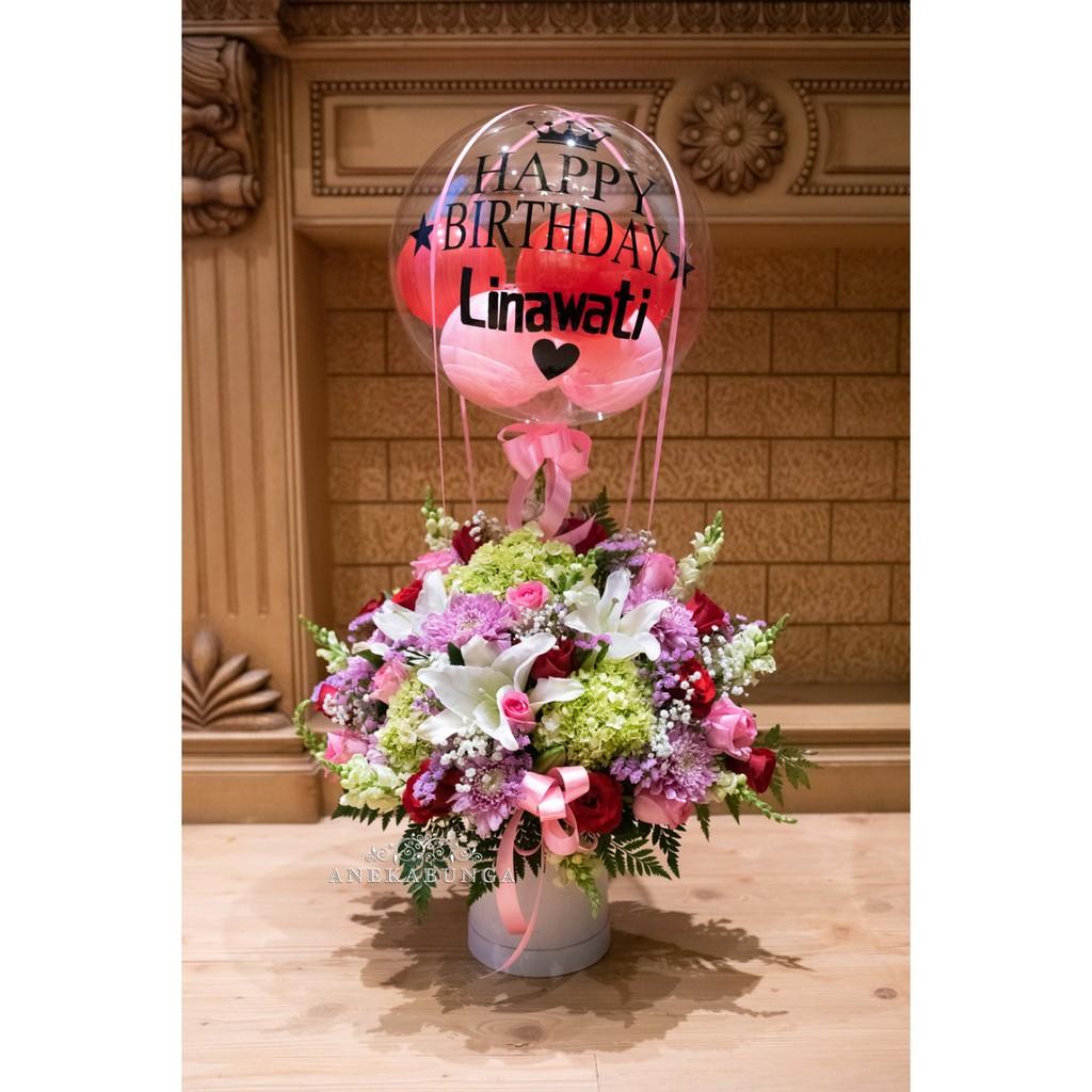 Rangkaian Bunga Asli Balon Baloon Fresh Flower Birthday Ulang Tahun Anniversary Pembukaan Toko Mawar Shopee Indonesia