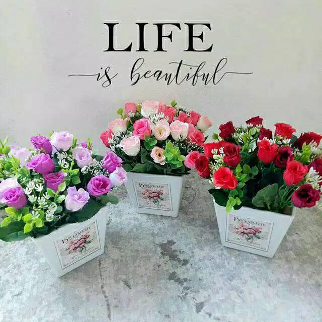 Pb53 Bunga Mawar Bunga Mawar Plastik Pot Bunga Plastik Bunga Hias Bunga Artificial Bunga Shopee Indonesia