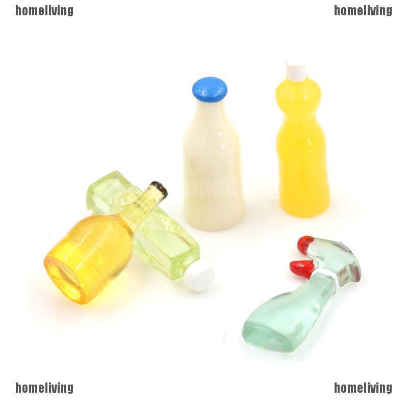 Dollhouse Miniature 1:12 Toy 5 Pieces Plastic Kitchen Bottles Height 3cm IJ