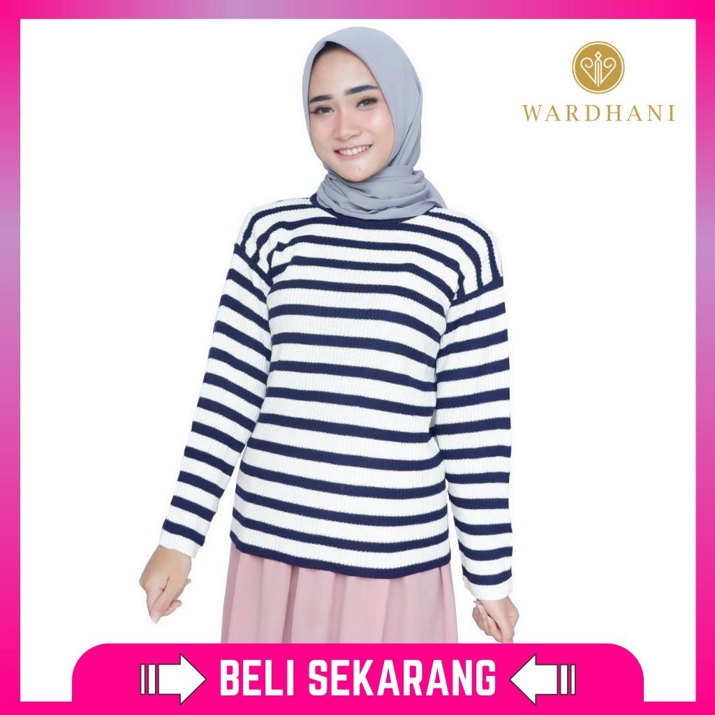 Wardhani - Baju Rajut Wanita Sweater Rajut Rivka Bahan Rajut Halus Motif Stripe Warna Maroon Fit L