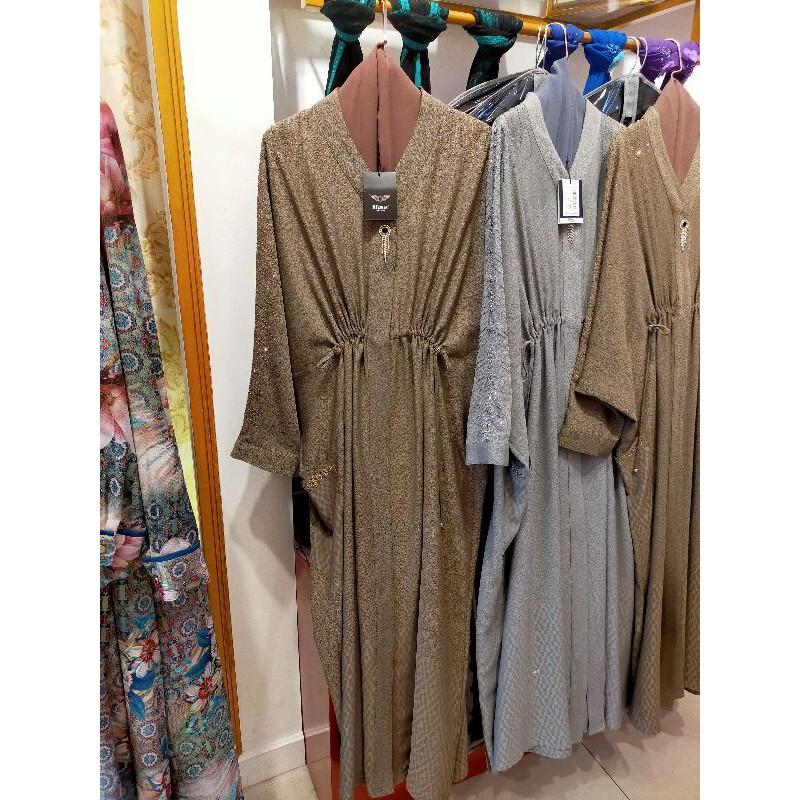Gamis Abaya Hikmat Fashion Original A2324 Brown & Grey