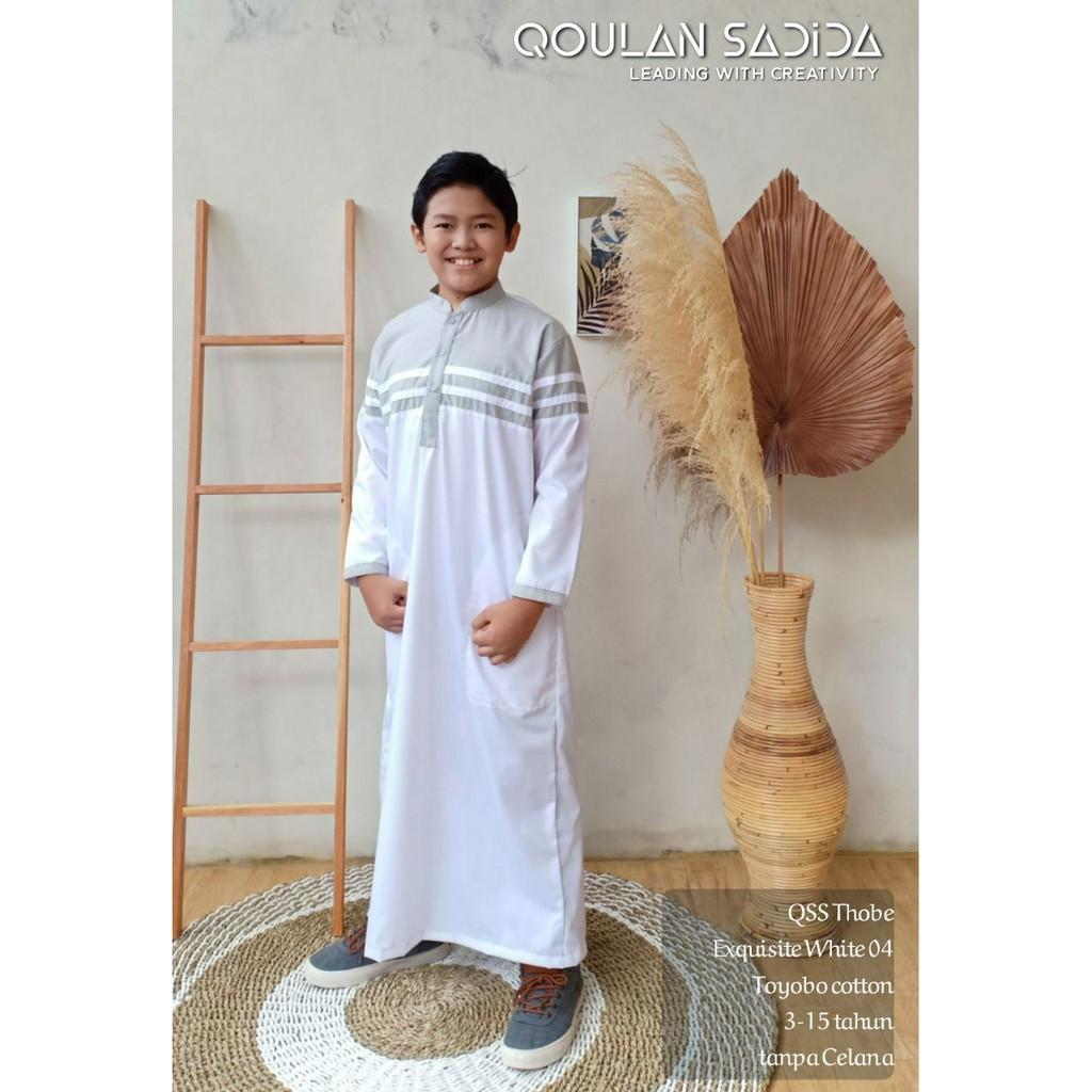 JUBAH ANAK EXQUISITE WHITE THOBE BY QOULAN SADIDA